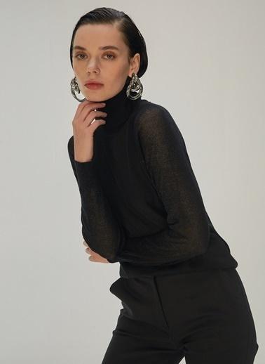 NGSTYLE NGSTYLE Kadın Kolları Simli BalıkÇı Triko Kazak Siyah